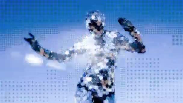 tanečnice nosí oblek disco zrcadla jiskří, modré abstraktní pozadí