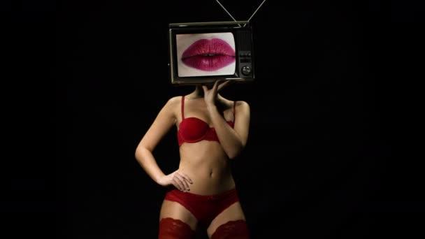 tv head woman lips