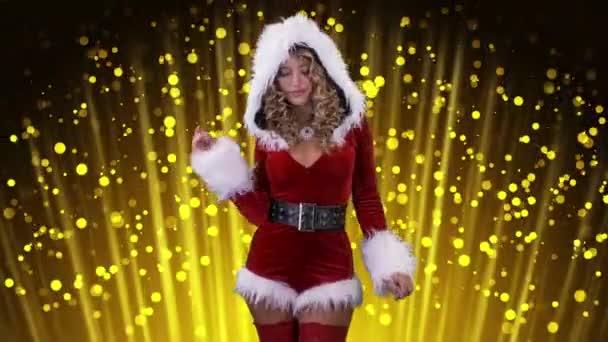 Tánc, Santa Claus jelmez a bokeh háttér, vonzó nő