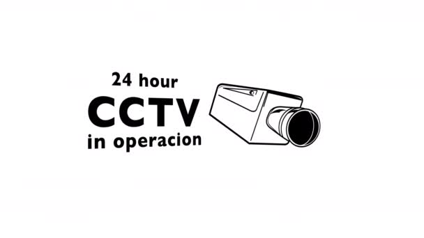 Motion graphic sequence of cctv cameras signs and symbols