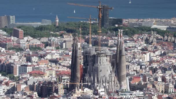 BARCELONA - JUNE 2017 - sagrada familia from the bunkers de carmel, a viewpoint over the city of barcelona