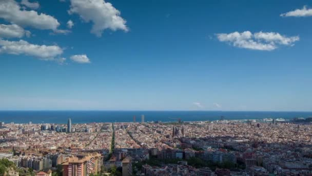 wide angle timelapse of barcelona shot from the bunkers de carmel offering amazing panoramic views over the city skyline