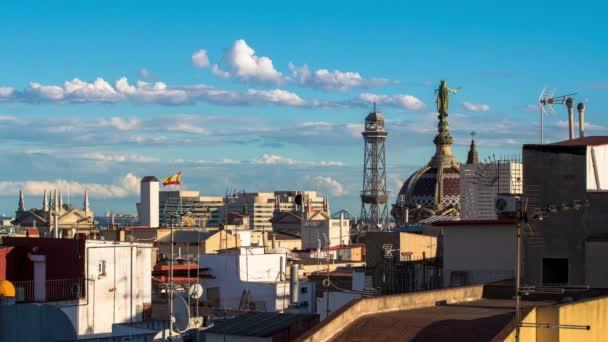 Imelapse De Tiro De Los Tejados De Barcelona Desde Una Terraza En El Centro De La Ciudad