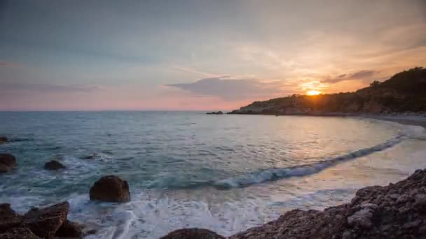 beautiful sunset time lapse of a beach and the sea in montenegro