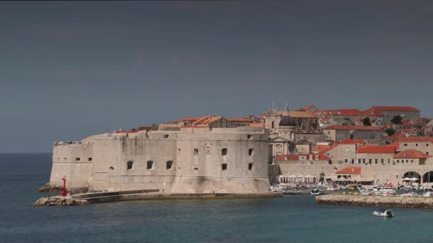 View of walled city of Dubrovnik on Adriatic coast, Croatia