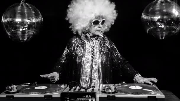 dj grandma in disco setting
