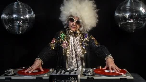 dj grandma in disco setting