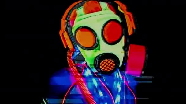 Female wearing in fluorescent gas mask dancing with glitch effect