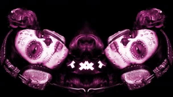 gyönyörű nő egyedi tervezésű cukorka koponya mexikói nap a halott arc smink