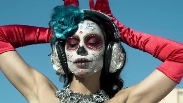 szép nő, egyéni tervezett candy koponya mexikói napján a halott arca alkotó