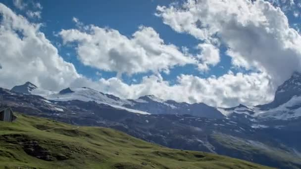 Panoramic view of Matterhorn and surrounding mountains in Swiss Alps