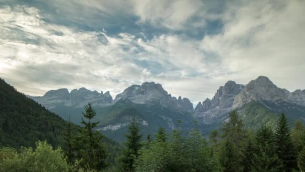 Early morning of amazing Dolomites mountains in Italian Alps.