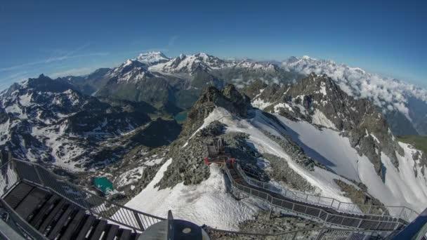 ohromující časová prodleva v časných ranních hodinách horské vrcholy od mont fort zobrazení bodu v verbier, Švýcarské Alpy