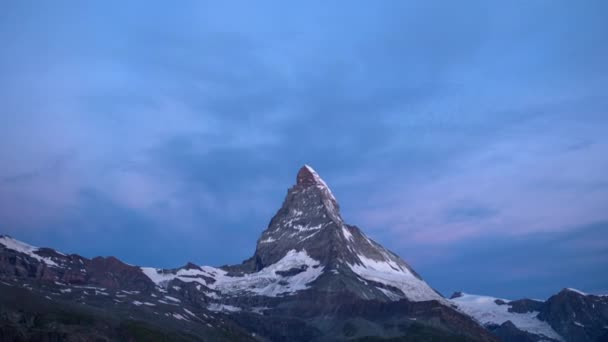 dawn, sunrise time lapse of the amazing matterhorn mountain in the Swiss Alps