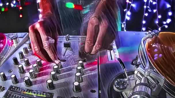 Studio střílet pohodě mužský DJ za gramofony s styl překrytí abstraktní malby