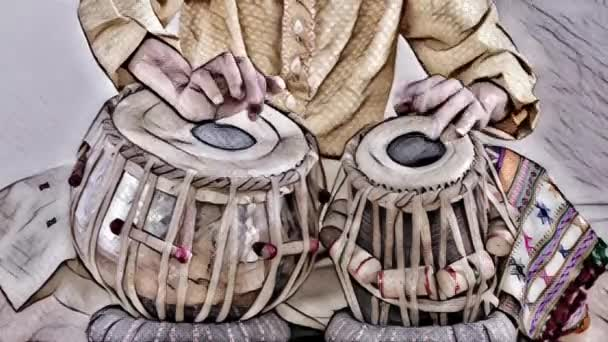 amazing indian percussion musician performing, close up