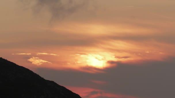 View on fiery vivid sunset in Picos de Europa, Asturia, Spain