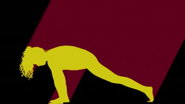 Colored silhouette of female doing yoga on black background