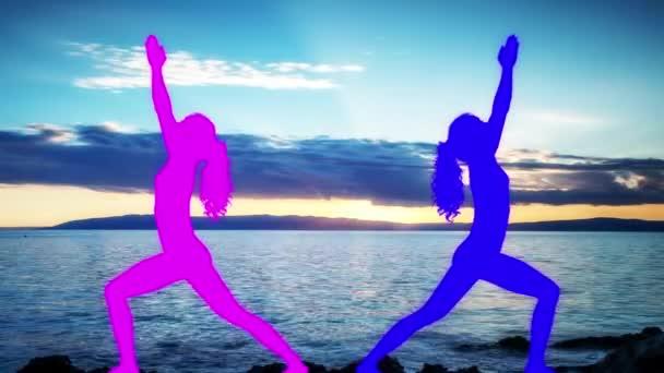 Female doing yoga with beautiful sunset at background