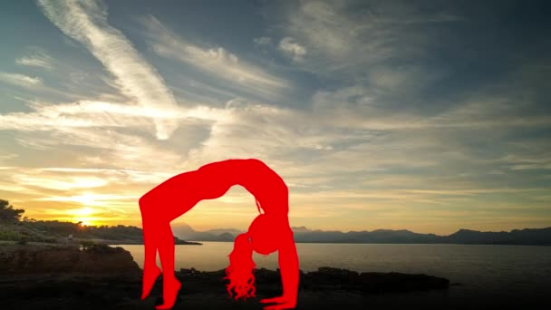 Female doing yoga with beautiful sunset at background