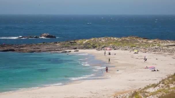 Timelapse of Larino beach on coast of Galicia, Spain