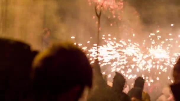 Barcelona, Spain - September 22, 2018 : Crowds in street for fire festival Correfoc
