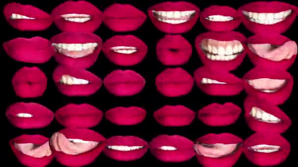 Different images of woman red lips on black background