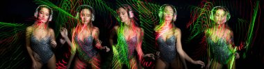 beautiful sexy female dancer with headphones in disco scene with overlayed laser lights