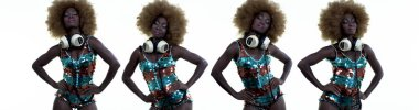 Sequence set of beautiful African woman in sparkling costume dancing with headphones.