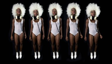 Sequence set of beautiful African woman in afro wig dancing in white lingerie and headphones.