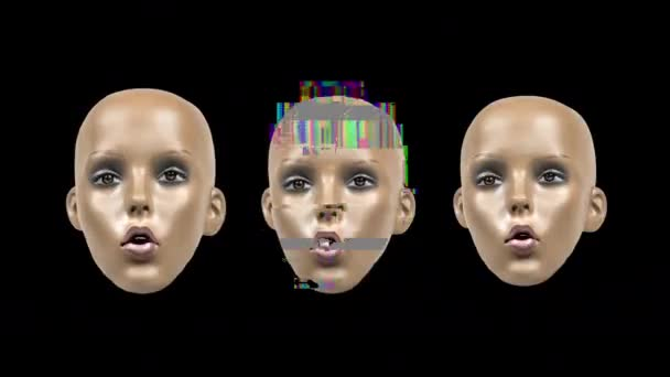 Animált arckifejezéseket manöken fej fénylik és torzítási hatások