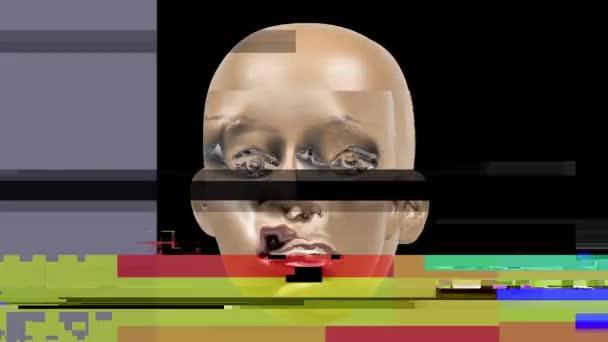 Animované výrazy na tváři manekýna hlavy s škubnutí a deformační efekty