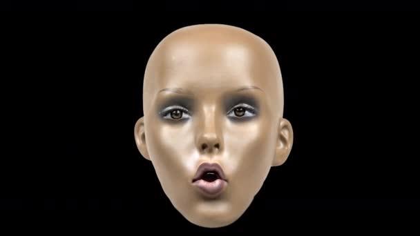 animovaná panenka hlava pohybující se na černém pozadí s poruchami a zkreslení video efekty