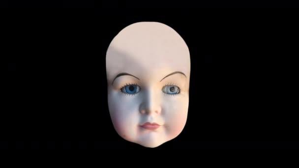 Doll fej animált arckifejezéseket fekete háttér