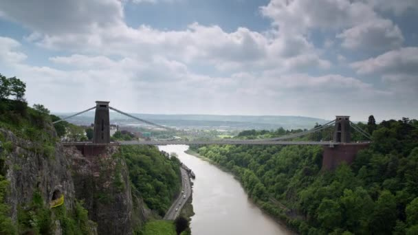Timelapse Clifton bridge and clouds in sky, Bristol, UK