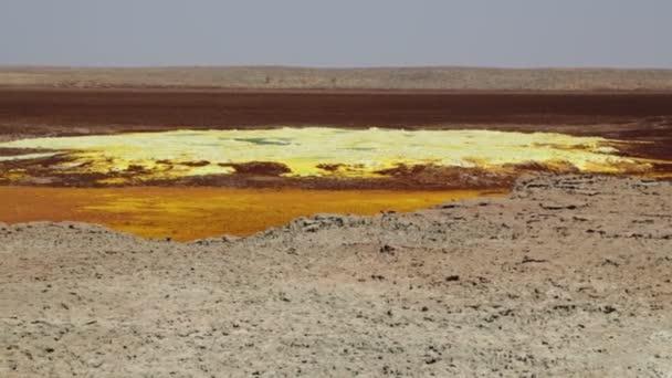 footage of desert with sulfur lake, volcanic depression of dallol, ethiopia, africa