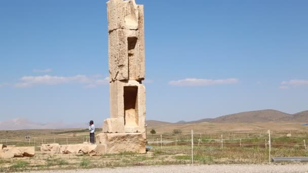 footage of tourist Pasargad old temple in Iran