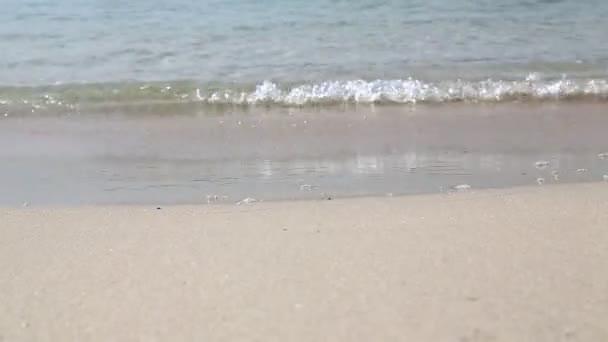 pohled na mořské vlny a písečnou pláž