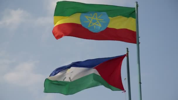 footage of waving Ethiopian and Afar flags against cloudy sky