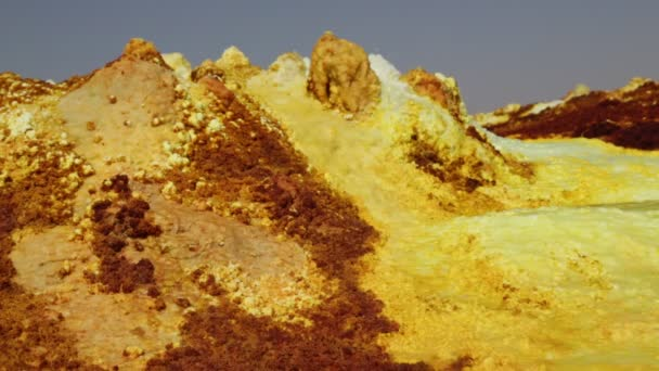footage of volcanic hills at volcanic depression of dallol, ethiopia, africa