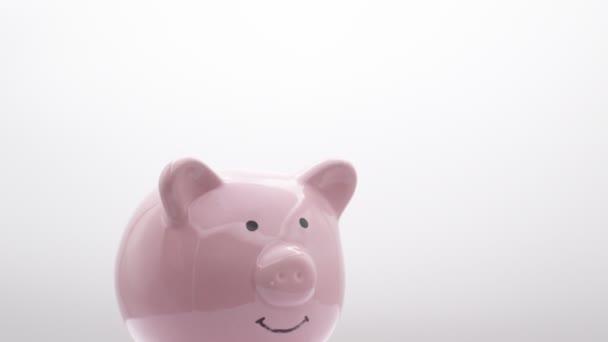 Sparschwein mit Dollarnote auf weißem Hintergrund, wie Konzept von Geld und Investition