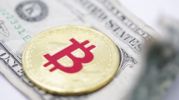 bitcoin and crumpled dollar banknote on white background, like concept of money and investment