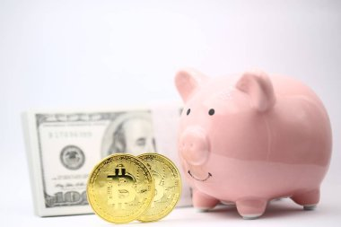 piggy bank and bitcoin concept of money savings and investment