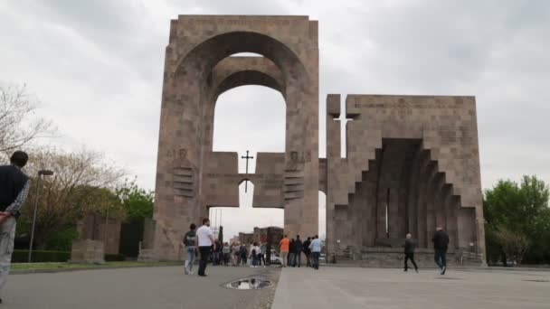 tourists visiting echmiadzin oldest Christian antique temple in Armenia