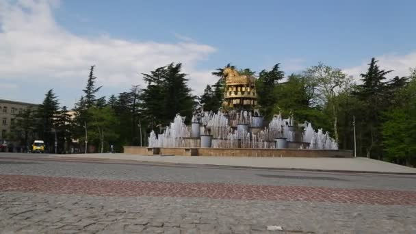 monument of golden horses and fountain in kutaisi, georgia