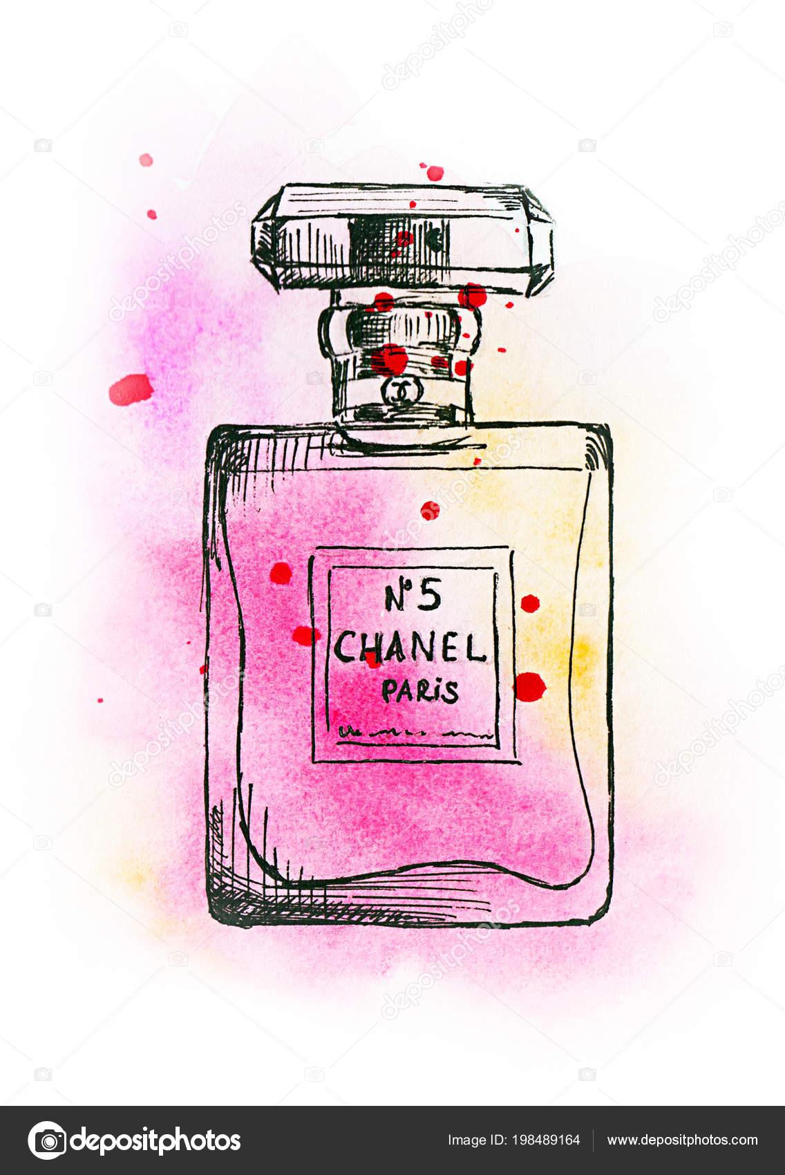 Akwarela Rysunek Perfumy Chanel Zdjęcie Stockowe Lyalya