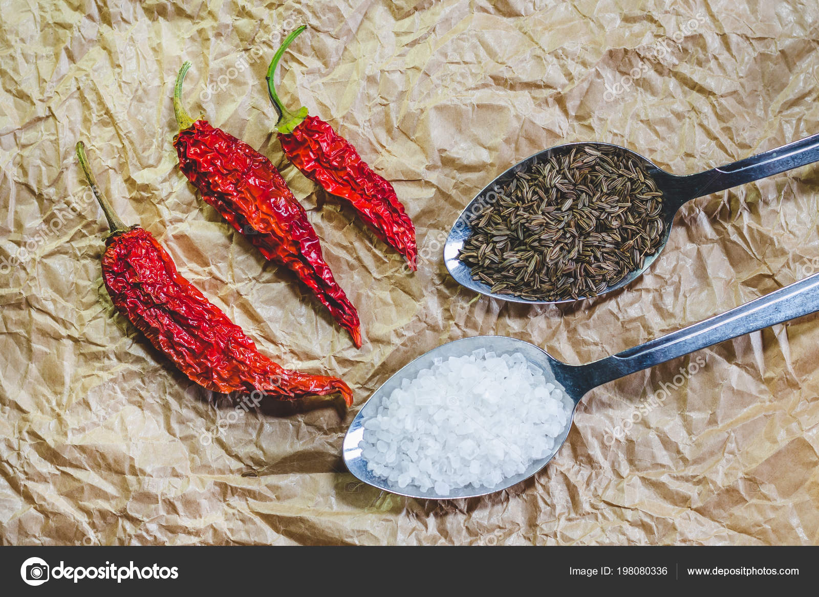 7d69a04b7daf Red Hot Dried Peppers Spoon Sea Salt Spoon Seeds Cumin — Stock Photo ...