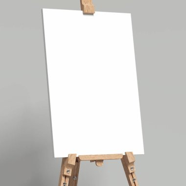 White easel stands next to bright grey wall, 3d rendering stock vector