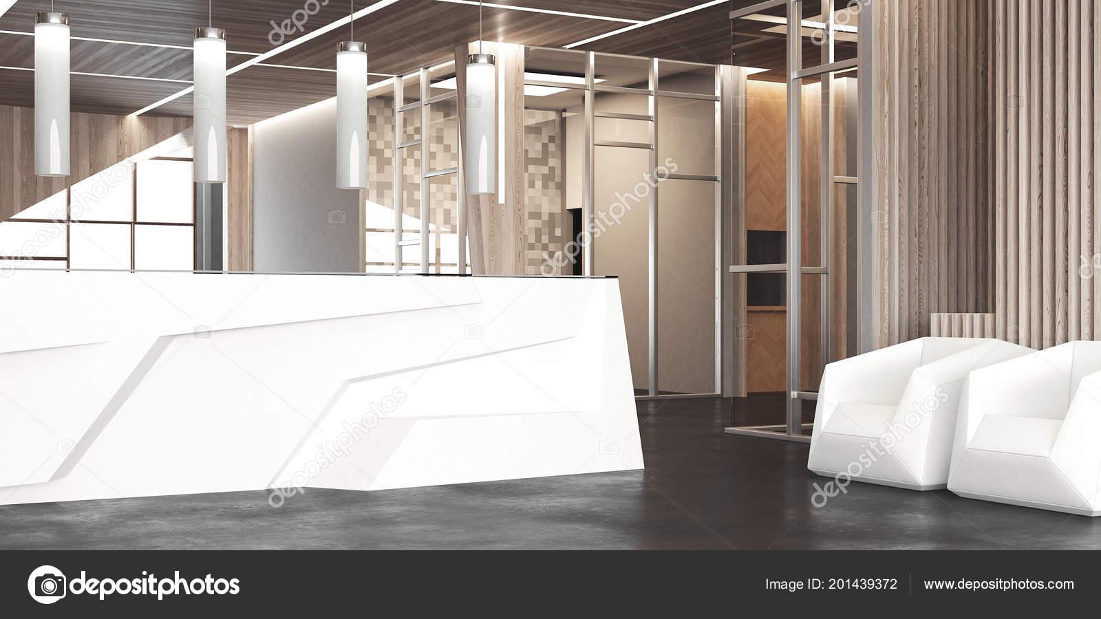 Amplio hall con recepción de oficina blanco y sillas, render 3d ...