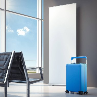 Travel blue suitcase at the airport. 3d rendering